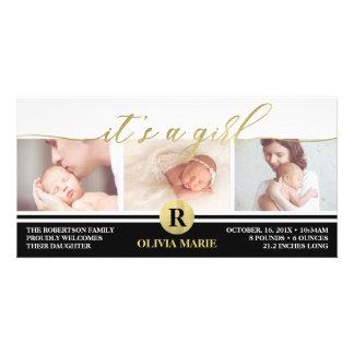 Geburts-Mitteilung, Mädchen, Imitat-Goldfolie Karte