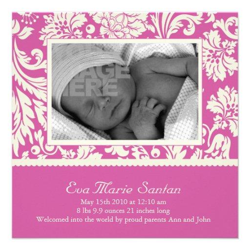 Geburts-Mitteilung - magentarotes Blumen Personalisierte Einladungskarten
