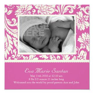 Geburts-Mitteilung - magentarotes Blumen Quadratische 13,3 Cm Einladungskarte
