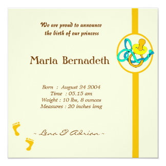 Geburts-Mitteilung Quadratische 13,3 Cm Einladungskarte