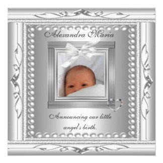 Geburts-Mitteilungs-Silber-Foto-Rahmen-Bogen Personalisierte Einladungskarte