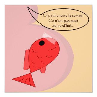 """Geburtsmitteilung """"Fisch vom April """" Quadratische 13,3 Cm Einladungskarte"""