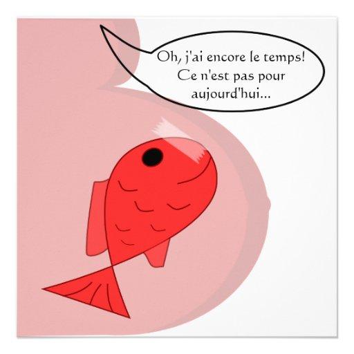"""Geburtsmitteilung """"Fisch vom April"""" weiß Einladungen"""