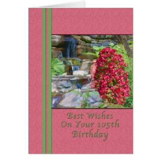 Geburtstag, 105., Bouganvilla, Vögel, Wasserfall Karte