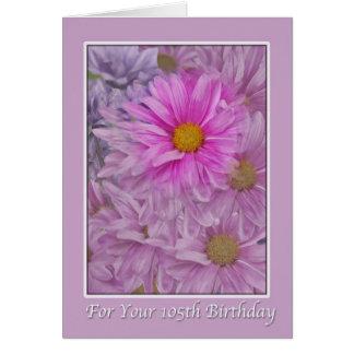 Geburtstag, 105., rosa Gerbera-Gänseblümchen Karte