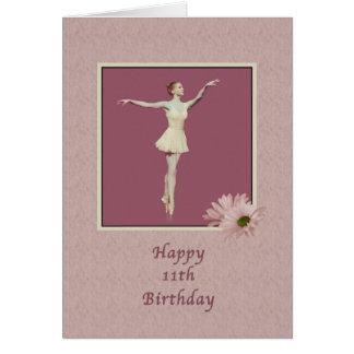 Geburtstag, 11., Ballerina auf Pointe mit Karte