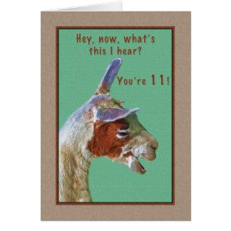 Geburtstag, 11., lachende Lama-Karte Karte