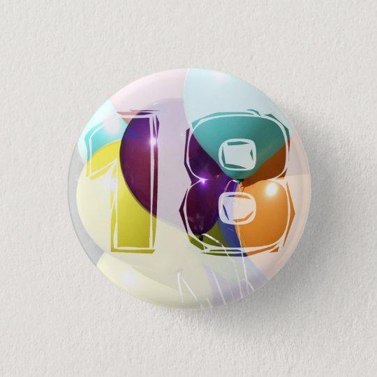 Geburtstag 18 runder button 2,5 cm