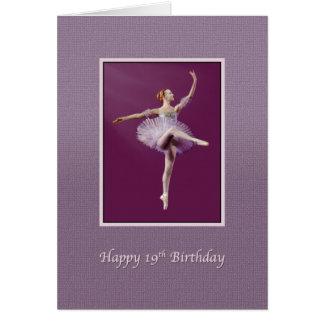 Geburtstag, 19., Ballerina in Lila und in weißem Karte