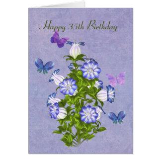 Geburtstag, 35., Schmetterlinge und Bell-Blumen Karte