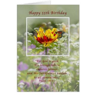 Geburtstag, 55., Tulpe und Schmetterling, religiös Karte