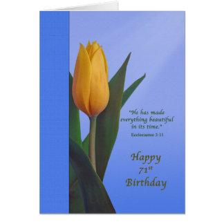 Geburtstag, 71., goldene Tulpe-Blume Karte