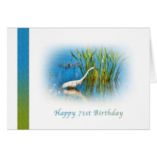 Geburtstag, 71., großer Reiher in einem Teich Karte