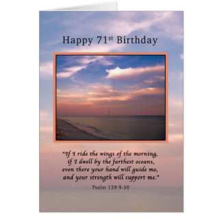 Geburtstag, 71., Sonnenaufgang am Strand, religiös Karte