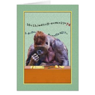Geburtstag, 74., Gorilla am Schreibtisch Karte