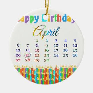 Geburtstag am 21. April, bunte Geburtstags-Kerzen Rundes Keramik Ornament