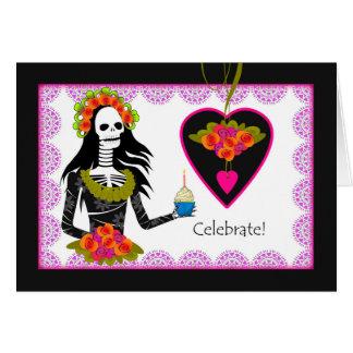 Geburtstag auf Dia de Los Muertos, Skelett, Karte