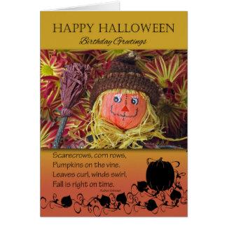 Geburtstag auf Halloween, Vogelscheuche und Karte