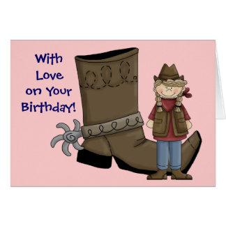 Geburtstag bin ich ein glückliches Mädchen-Cowgirl Karte