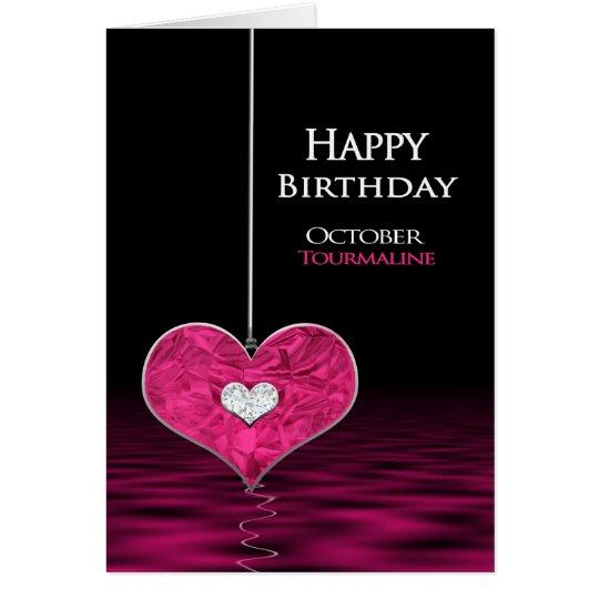 Geburtstag - Birthstone - Oktober - Tourmaline Grußkarte