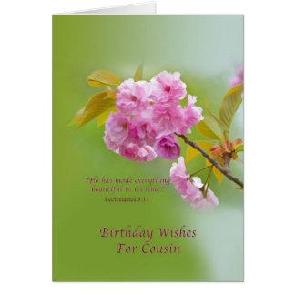Geburtstag, Cousin, Kirschblüten, Rosa und Grün Karte