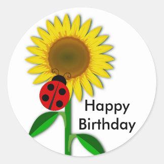 Geburtstag, der ringsum den Sonnenblume-Aufkleber, Runder Aufkleber
