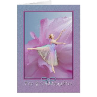 Geburtstag, Enkelin, Ballerina auf Rosa und Karte