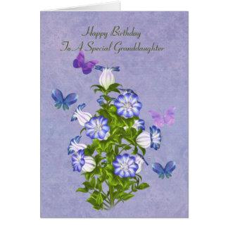 Geburtstag, Enkelin, Schmetterlinge und Blumen Karte