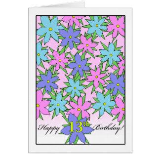 Geburtstag für 13 jähriges Mädchen, PastellBlumen Karte