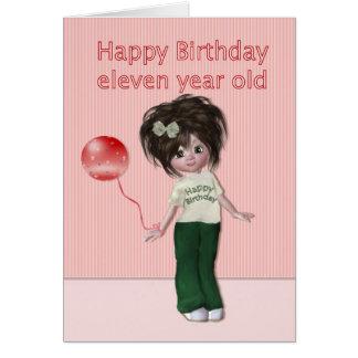 Geburtstag für das 11 Jährig-Mädchen Karte
