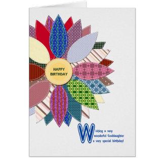 Geburtstag für Patenttochter, genähte Blume Karte