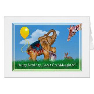 Geburtstag, groß - Enkelin, Elefant, Giraffe Karte