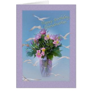 Geburtstag, Großmutter, Blumen und Vögel Karte