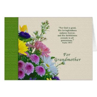 Geburtstag, Großmutter, Blumenstrauß, religiös Karte
