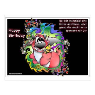 Geburtstag, happy birthday, biene, bee, bienen postkarte