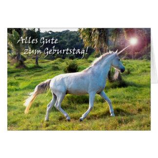 Geburtstag im deutschen, magischen Einhorn Karte