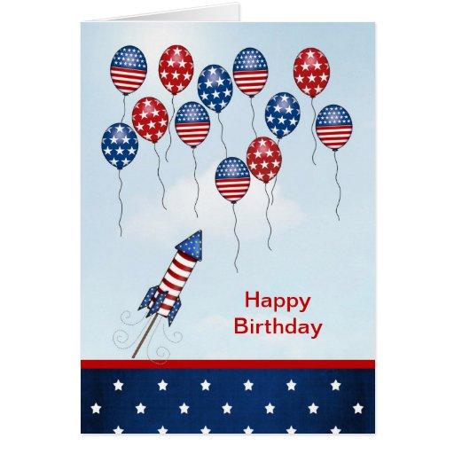Geburtstag Juli 4. Sterne, Streifen, Ballone Grußkarte
