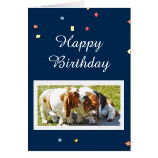 Geburtstag-Karte mit Dachshund-Jagdhunden u. Karte