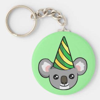 Geburtstag-Koala im Party-Hut, der Schlüsselring Schlüsselanhänger