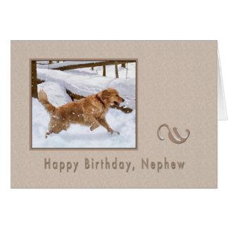 Geburtstag, Neffe, golden retriever-Hund im Schnee Karte