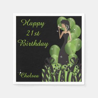 Geburtstag oder Grün des Bachelorette Servietten