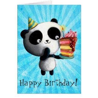 Geburtstag-Panda mit Kuchen Grußkarten