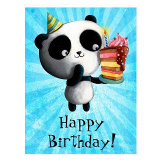Geburtstag-Panda mit Kuchen Postkarte