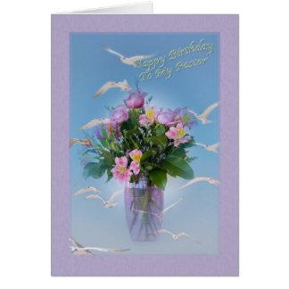 Geburtstag, Pastor, Blumen und Vögel Karte