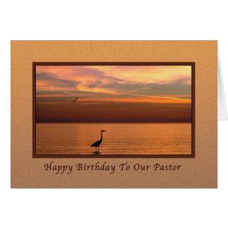 Geburtstag, Pastor, Meerblick am Sonnenuntergang Karte