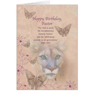 Geburtstag, Pastor, Puma und Schmetterlinge Karte