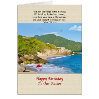 Geburtstag, Pastor, Strand, Hügel, Vögel, Ozean Karte