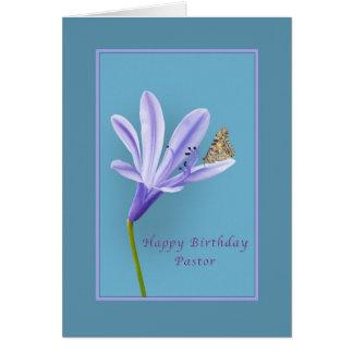 Geburtstag, Pastor, Taglilie-Blume und Karte
