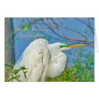 Geburtstag, Patenttochter, großer Reiher-Vogel Karte