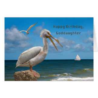 Geburtstag, Patenttochter, weißer Pelikan auf Karte